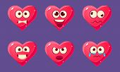 Glossy Heart Characters Set, Funny Pink Hearts With Different Emotions Vector Illustration poster
