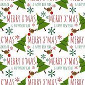 Christmas Holiday Season Seamless Pattern Of A Little Bird With Christmas Balls And Christmas Tree F poster