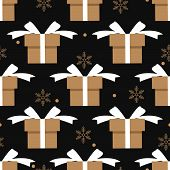 Christmas Holiday Season Seamless Pattern Of Gift Box And Snowflakes For Greeting Cards, Wrapping Pa poster