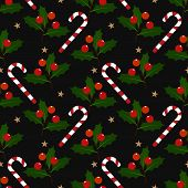 Christmas Holiday Season Seamless Pattern With Christmas Elements With Candy Canes, Holly Leaves And poster