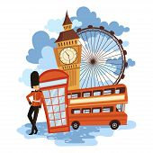 Landscape Of London. Cartoon Illustration Of The Sights Of England. Vector Drawing For Travel Agency poster