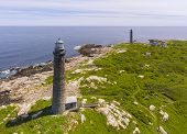 Aerial View Of Thacher Island Lighthouses On Thacher Island, Rockport, Cape Ann, Massachusetts, Usa. poster