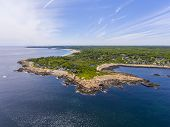 Aerial View Of Loblolly Point Coast Near Thacher Island In Rockport, Cape Ann, Massachusetts, Usa. poster