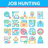Job Hunting Collection Elements Vector Icons Set Thin Line. Hunting Business People And Recruitment  poster