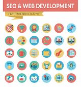 Seo Web Development. Trendy Material Design Icons Pack For Designers And Developers. Icons For Seo A poster