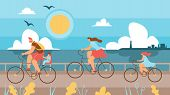 Family With Children Riding Bikes Along Coast. Husband And Wife With Children Spend Time Cycling On  poster