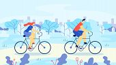 Man And Woman Riding Bicycles Out Town Cartoon. Athletic Man And Woman Riding Bike On Background Tre poster