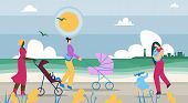 Mothers Walk With Children Along Coast Cartoon. Pleasant Walk In Countryside. Mothers Ride Strollers poster