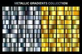 Silver And Golden, Yellow Glossy Gradient, Gold Metal Foil Texture. Color Swatch Set. Collection Of  poster