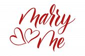 Modern Handwritten Brush Calligraphy Marry Me And Hearts Isolated On White Background. Brush Calligr poster
