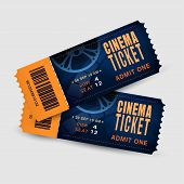 Two Cinema Tickets Isolated On White Background. Pair Movie Entrance Ticket. Realistic Template Set  poster