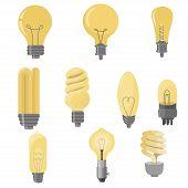 Set Of Light Bulbs. Light Bulb Collection In Flat Style. Electric Lighting. Led Light Bulbs. Illustr poster