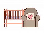 Livingroom Sofa With Love Pillows And Cradle Vector Illustration Design poster