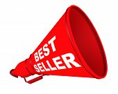 The Horn Labeled With Text Best Seller. White Text Best Seller On The Red Horn. Isolated. 3d Illustr poster