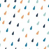Seamless Pattern With Rain Hand Drawn Drops. Kids Nordic Print. Vector Illustration. poster