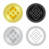Vector Design Of Coin And Bit-coin Symbol. Collection Of Coin And Bank Stock Symbol For Web. poster
