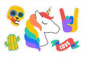 Fun Stickers. Colorful Fun Stickers. Design Cartoon Stickers poster
