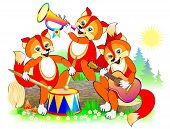 Illustration Of Three Cute Little Foxes Playing Musical Instruments In The Orchestra. Cover For Baby poster