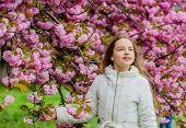 Pink Is My Favorite. Little Girl Enjoy Spring. Kid Pink Flowers Of Sakura Tree Garden. Kid Enjoying  poster