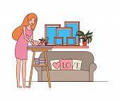 Cute Pregnancy Mother With Little Boy In Livingroom Vector Illustration Design poster