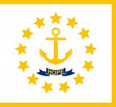 Flag Of Rhode Island Officially The State Of Rhode Island And Providence Plantations, Is A State In  poster