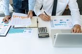 Businessman In Meeting Analysis Chart Graphy Marketing Plan In Business Financial  Audit Project. Or poster