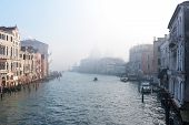 Panoramic View Of Famous Grand Canal In The Winter In Venice, Italy. Scenic Postcard View Of The Fam poster