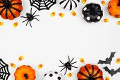 Halloween Double Border Of Pumpkins, Candy And Decor. Flat Lay Over A White Background With Copy Spa poster