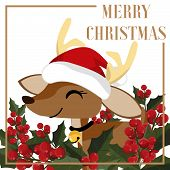 Christmas Holiday Season Background With Cute Reindeer In Santa Hat And Holly Berries Branch. Cute C poster