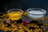 A Famous Natural Method For Dandruff On Wooden Surface In A Glass Bowl Consisting Of Fenugreek Seeds poster