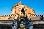 View Of The Large Old Brick Pagoda At Wat Chedi Luang Temple, The Historical Buddhist Temple In Chia poster