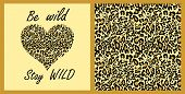 Leopard wallpaper and t-shirt fashion girl print with heart shape on sand-coloured background with b poster