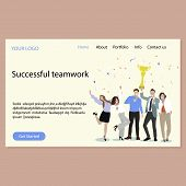Successful Teamwork Landing Page. Vector Happy Team With Golden Cup, Webpage Success Company Celebra poster