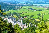Neuschwanstein Castle In Munich Vicinity, Bavaria, Germany. This Fairytale Castle Is A Famous Landma poster