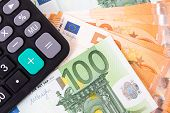 Finance And Car Loan, Saving Money For A Car Or Material Design Concepts. Red Car On Euro Banknotes. poster