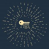 Beige Cryptocurrency Key Icon Isolated On Dark Blue Background. Concept Of Cyber Security Or Private poster