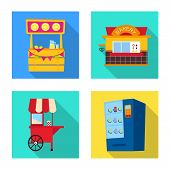 Vector Illustration Of Amusement And Store Logo. Collection Of Amusement And Urban Vector Icon For S poster