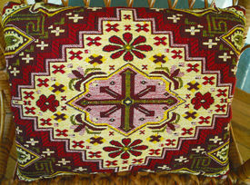 stock photo of pillowcase  - Vintage woolen pillowcases with handmade embroidery  - JPG