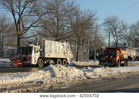 NY Department of Sanitation cleaning streets after massive snowstorm