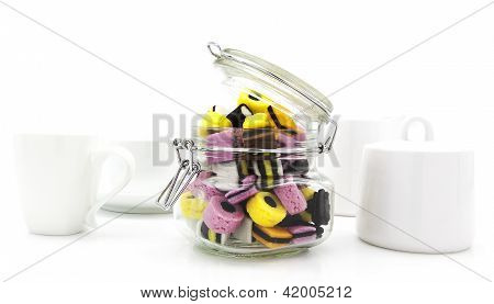 Liquorice Allsort Sweets In Storeage In Modern White Kitchen Setting