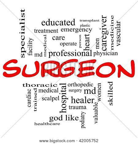 Concepto de Cloud de palabra de cirujano en gorros rojos