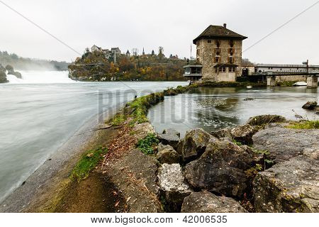 View Of The Rhinefall, The Largest Waterfall In Europe, Schaffhausen, Switzerland