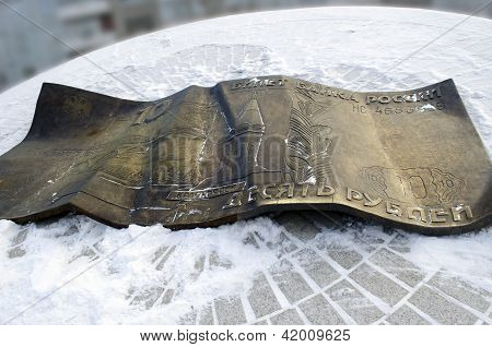 Krasnoyarsk, RU-Nov,9 2012:Monument for ten rubles from bronze on Nov,9 in Krasnoyarsk
