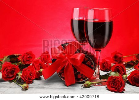 Valentine Gift, Red Wine And Roses