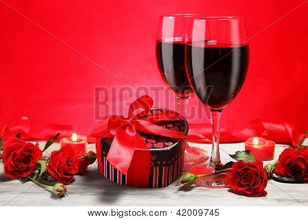 Valentine Gift Heart Shape With Wine And Roses
