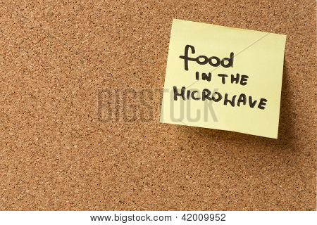Yellow Sticky Note/ Post It Food In The Microwave