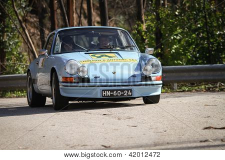 Leiria, Portugal - February 2: Unknow Driver Drives A Porsche 911 During 2013 Amateur Winter Rally,