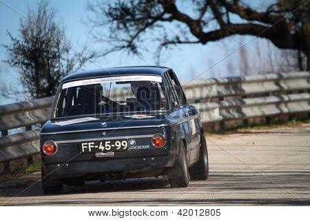 Leiria, Portugal - February 2: Jose Cunha Drives A Bmw 2002 During 2013 Amateur Winter Rally, In Lei