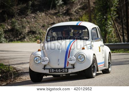 Leiria, Portugal - February 2: Rui Gama Drives A Vw 1500 During 2013 Amateur Winter Rally, In Leiria