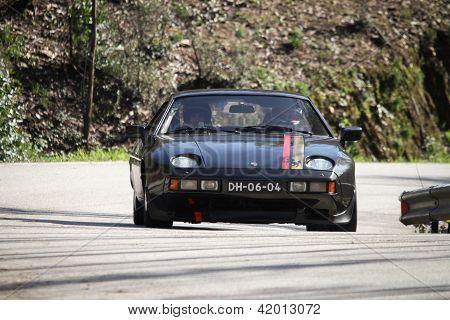 Leiria, Portugal - February 2: Luis Caxeiro Drives A Porsche 928 S During 2013 Amateur Winter Rally,